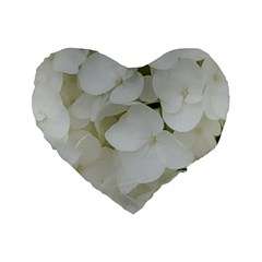 Hydrangea Flowers Blossom White Floral Photography Elegant Bridal Chic  Standard 16  Premium Flano Heart Shape Cushions by yoursparklingshop
