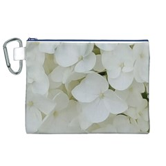 Hydrangea Flowers Blossom White Floral Photography Elegant Bridal Chic  Canvas Cosmetic Bag (xl) by yoursparklingshop