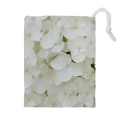 Hydrangea Flowers Blossom White Floral Photography Elegant Bridal Chic  Drawstring Pouches (extra Large) by yoursparklingshop