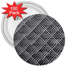 Pattern Metal Pipes Grid 3  Buttons (100 Pack)
