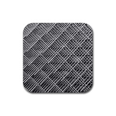 Pattern Metal Pipes Grid Rubber Square Coaster (4 Pack)  by Nexatart