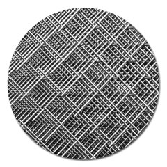 Pattern Metal Pipes Grid Magnet 5  (round) by Nexatart