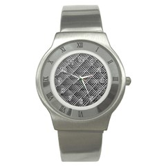 Pattern Metal Pipes Grid Stainless Steel Watch by Nexatart