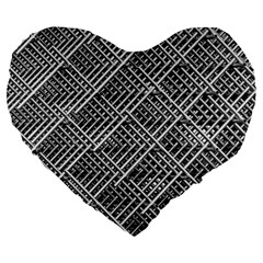 Pattern Metal Pipes Grid Large 19  Premium Heart Shape Cushions by Nexatart