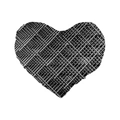 Pattern Metal Pipes Grid Standard 16  Premium Flano Heart Shape Cushions