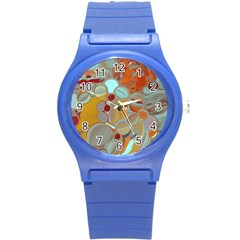 Liquid Bubbles Round Plastic Sport Watch (s) by theunrulyartist