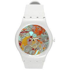 Liquid Bubbles Round Plastic Sport Watch (m) by theunrulyartist
