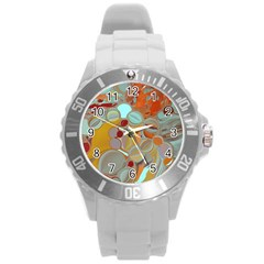 Liquid Bubbles Round Plastic Sport Watch (l) by theunrulyartist