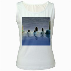 Abstract Gates Doors Stars Women s White Tank Top