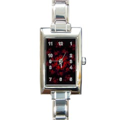Fractal Abstract Blossom Bloom Red Rectangle Italian Charm Watch