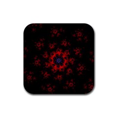 Fractal Abstract Blossom Bloom Red Rubber Square Coaster (4 Pack)  by Nexatart