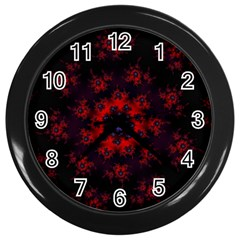 Fractal Abstract Blossom Bloom Red Wall Clocks (black) by Nexatart