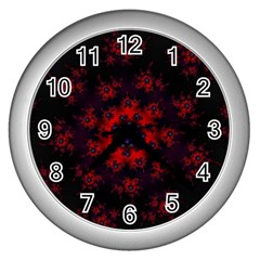Fractal Abstract Blossom Bloom Red Wall Clocks (silver)  by Nexatart