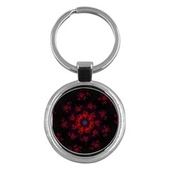 Fractal Abstract Blossom Bloom Red Key Chains (round)