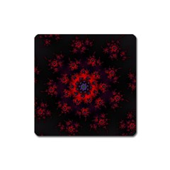 Fractal Abstract Blossom Bloom Red Square Magnet