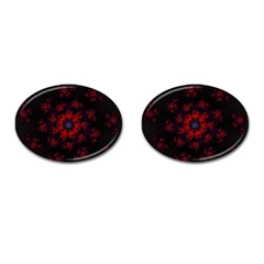 Fractal Abstract Blossom Bloom Red Cufflinks (oval)