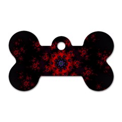 Fractal Abstract Blossom Bloom Red Dog Tag Bone (one Side) by Nexatart
