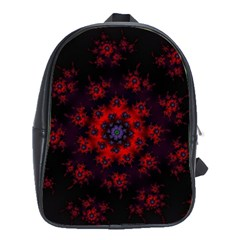 Fractal Abstract Blossom Bloom Red School Bags(large)  by Nexatart