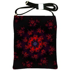 Fractal Abstract Blossom Bloom Red Shoulder Sling Bags by Nexatart