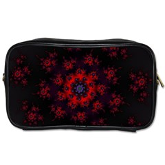 Fractal Abstract Blossom Bloom Red Toiletries Bags by Nexatart