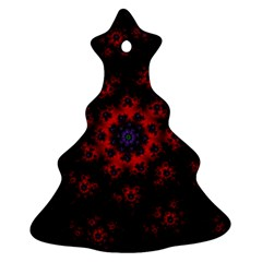 Fractal Abstract Blossom Bloom Red Christmas Tree Ornament (two Sides)