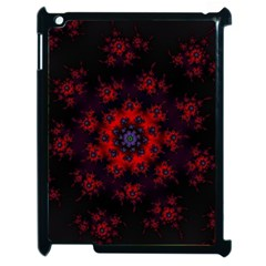 Fractal Abstract Blossom Bloom Red Apple Ipad 2 Case (black) by Nexatart