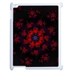 Fractal Abstract Blossom Bloom Red Apple Ipad 2 Case (white) by Nexatart