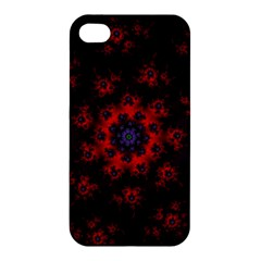 Fractal Abstract Blossom Bloom Red Apple Iphone 4/4s Premium Hardshell Case by Nexatart