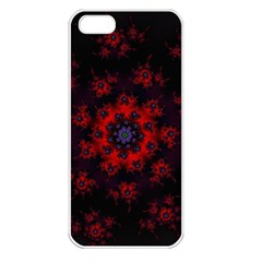 Fractal Abstract Blossom Bloom Red Apple Iphone 5 Seamless Case (white)