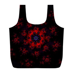 Fractal Abstract Blossom Bloom Red Full Print Recycle Bags (l)