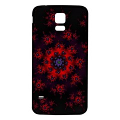 Fractal Abstract Blossom Bloom Red Samsung Galaxy S5 Back Case (white)