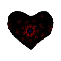 Fractal Abstract Blossom Bloom Red Standard 16  Premium Flano Heart Shape Cushions by Nexatart