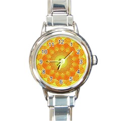 Sunshine Sunny Sun Abstract Yellow Round Italian Charm Watch by Nexatart