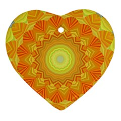 Sunshine Sunny Sun Abstract Yellow Heart Ornament (two Sides) by Nexatart