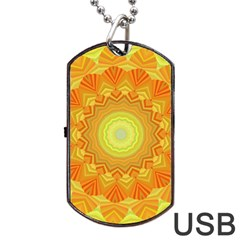 Sunshine Sunny Sun Abstract Yellow Dog Tag Usb Flash (one Side)