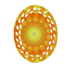 Sunshine Sunny Sun Abstract Yellow Oval Filigree Ornament (two Sides) by Nexatart