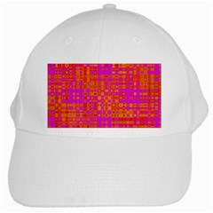 Pink Orange Bright Abstract White Cap by Nexatart