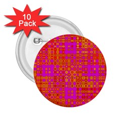 Pink Orange Bright Abstract 2 25  Buttons (10 Pack)