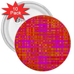 Pink Orange Bright Abstract 3  Buttons (10 Pack)  by Nexatart