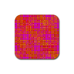 Pink Orange Bright Abstract Rubber Square Coaster (4 Pack)