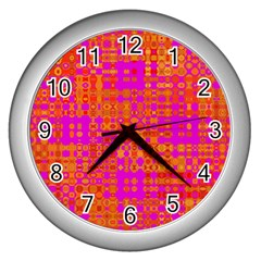 Pink Orange Bright Abstract Wall Clocks (silver)  by Nexatart