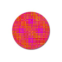 Pink Orange Bright Abstract Magnet 3  (round) by Nexatart