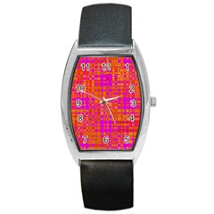 Pink Orange Bright Abstract Barrel Style Metal Watch by Nexatart