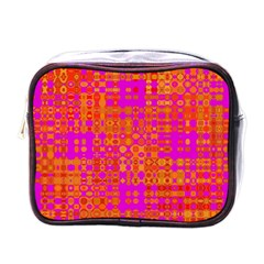 Pink Orange Bright Abstract Mini Toiletries Bags by Nexatart