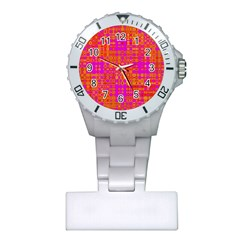 Pink Orange Bright Abstract Plastic Nurses Watch