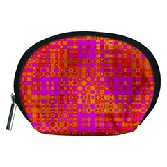 Pink Orange Bright Abstract Accessory Pouches (medium)
