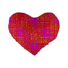 Pink Orange Bright Abstract Standard 16  Premium Flano Heart Shape Cushions by Nexatart