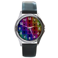 Rainbow Grid Form Abstract Round Metal Watch by Nexatart
