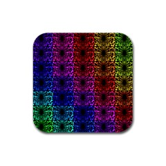 Rainbow Grid Form Abstract Rubber Square Coaster (4 Pack)  by Nexatart