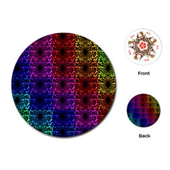 Rainbow Grid Form Abstract Playing Cards (round)  by Nexatart